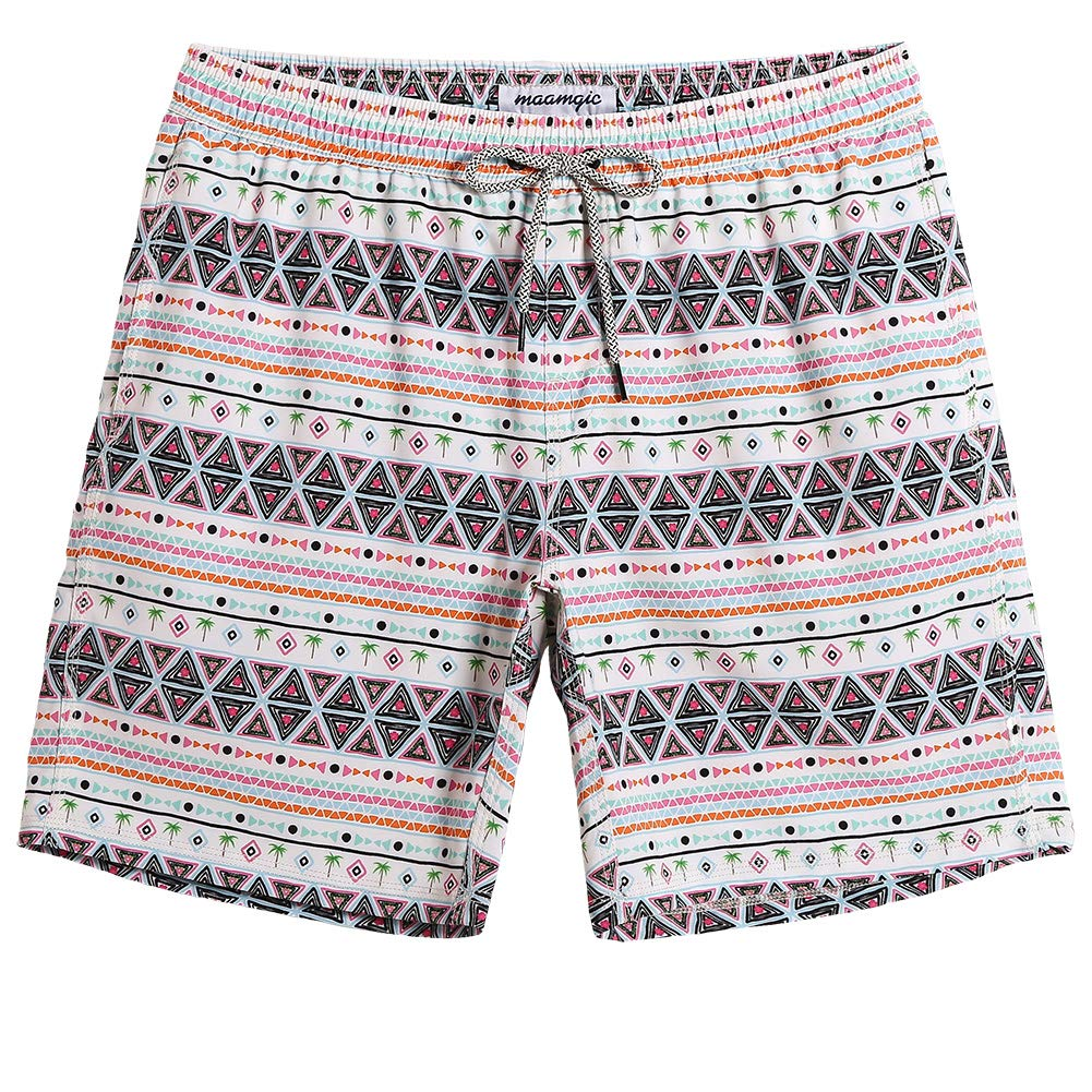 0c551e45a6b31 MaaMgic Mens Boys Short 90S 80s Swim Trunks with Mesh Lining 4 Way Stretch Quick  Dry Swim Suits Board Shorts Beige