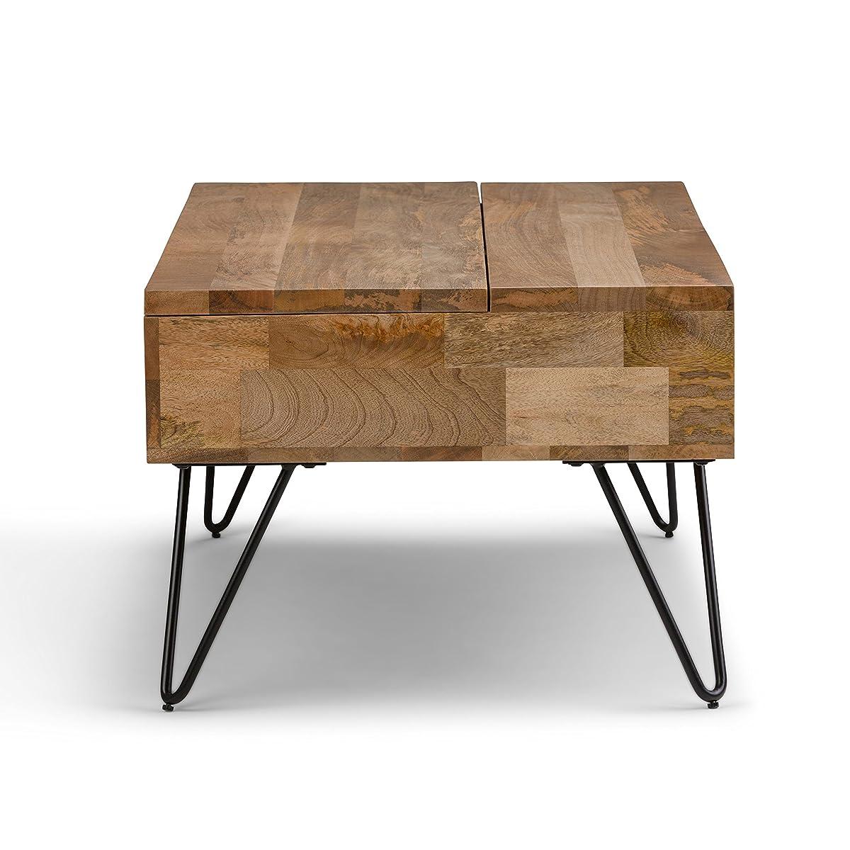 Simpli Home AXCHUN-01 Hunter Solid Mango Wood Mid-Century Coffee Table in Natural