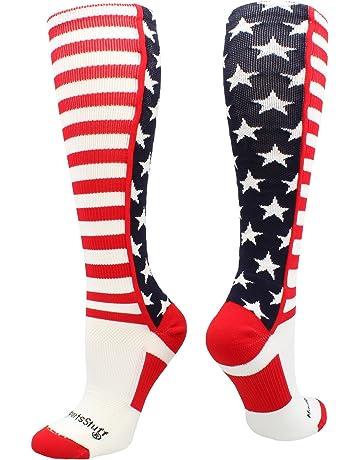 db7da33277a MadSportsStuff USA American Flag Stars and Stripes Over The Calf Socks