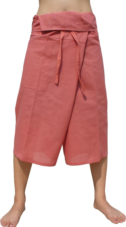 RaanPahMuang Plain Higher Grade Muang Cotton Thai Fisherman Capri Wrap Pants