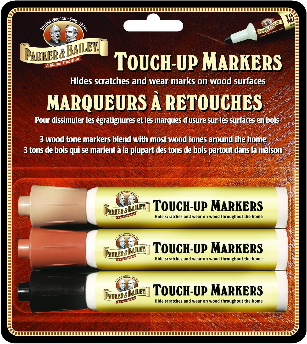 Parker & Bailey Furniture Touch-Up Markers (Set of 3), Brown