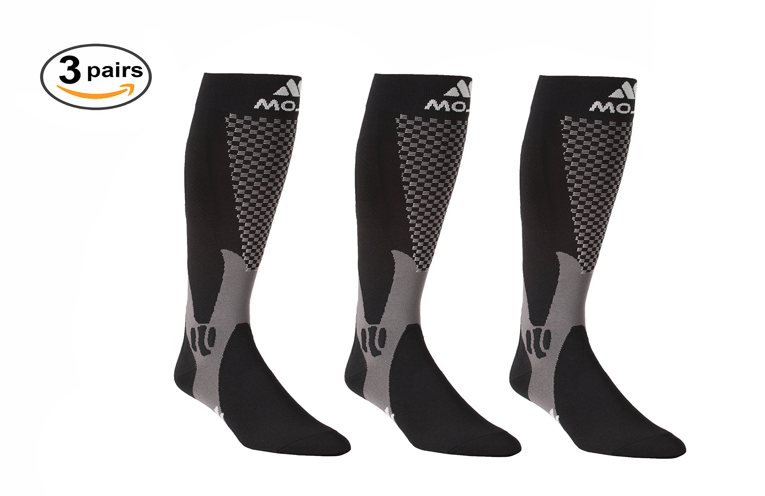 Mojo Recovery & Performance Compression Socks, 3 Pair Stockings, for Calf Strains, Running, Shin Splints, Varicose Veins, Injury Recovery & Prevention, Firm Support (20-30mmHg)(XXX-Large, 3 Black)