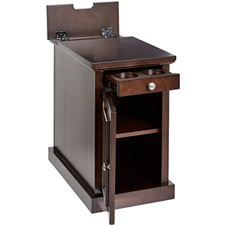 Ball Cast Harriet Wood End Table with Drawer, Cabinet, and Built-in Power Strip, Roasted Brown