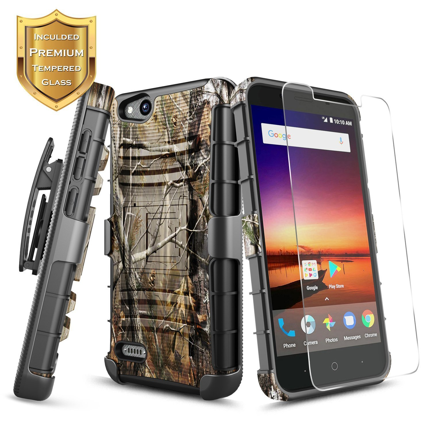 Details about ZTE ZFive G/ZTE ZFive C Case | Rugged Belt Clip Holster Cover  + Tempered Glass
