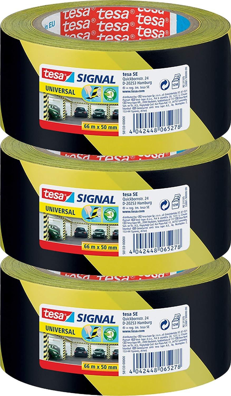 66m x 50mm , Gelb//Schwarz tesa Markierungs- und Warnklebeband 66m:50mm 3 Rollen