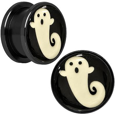 Cuerpo Caramelo Negro Anodizado Acero brilla en la oscuridad Spooky Ghost Dilatador Ajuste Rosca Par 5