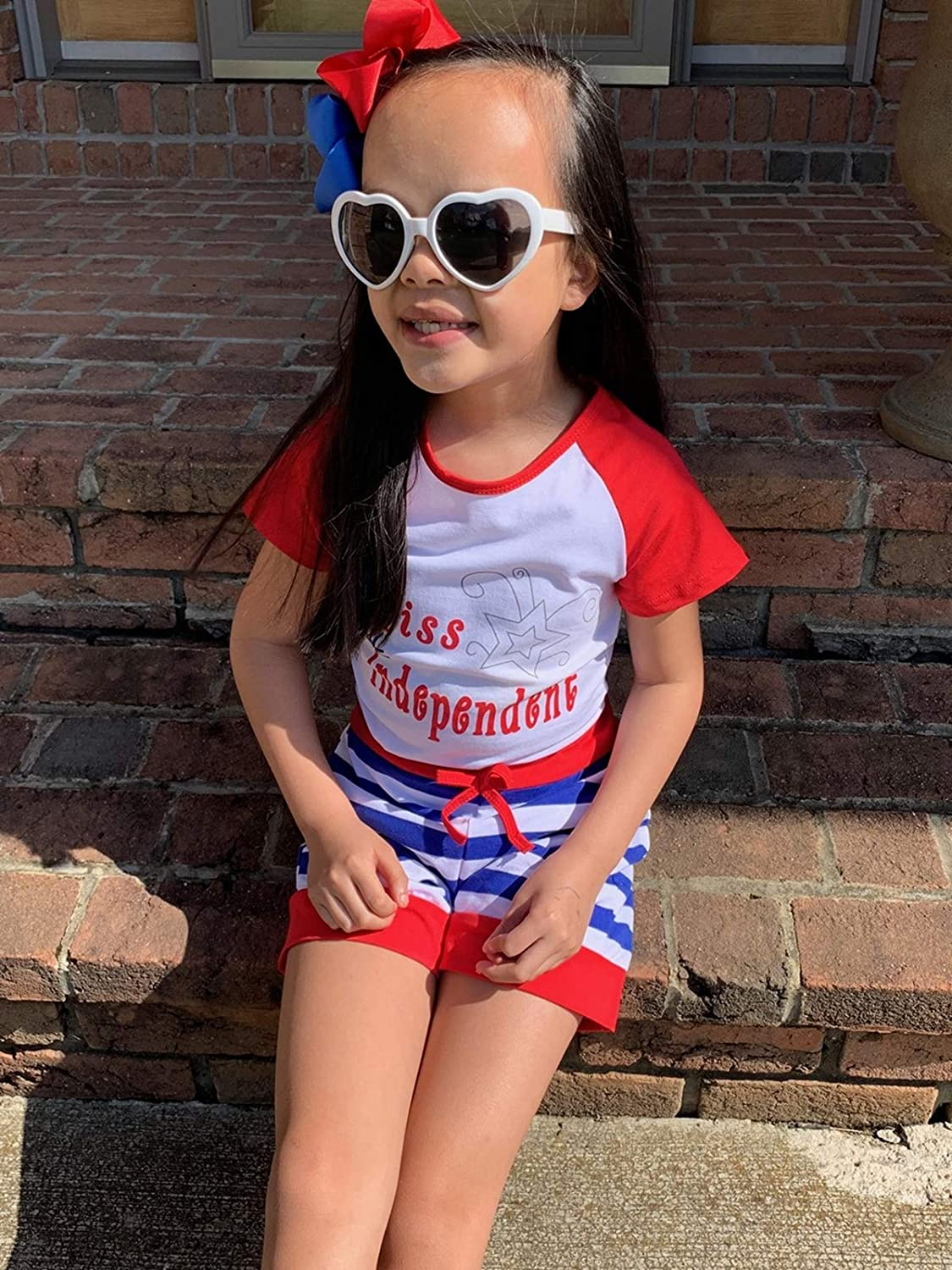 So Sydney Girls Toddler Tank or SS Top /& Shorts Patriotic USA American Summer Outfit