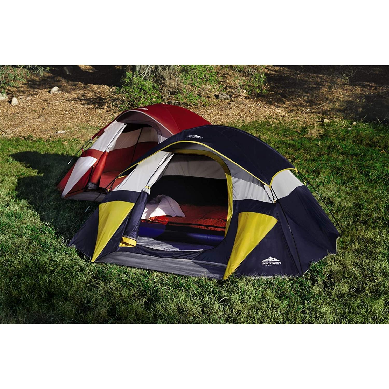 Northwest Territory Red Sierra Dome Tent 9×7 – Sleeps up to 3 – Waterproof – Carry Bag