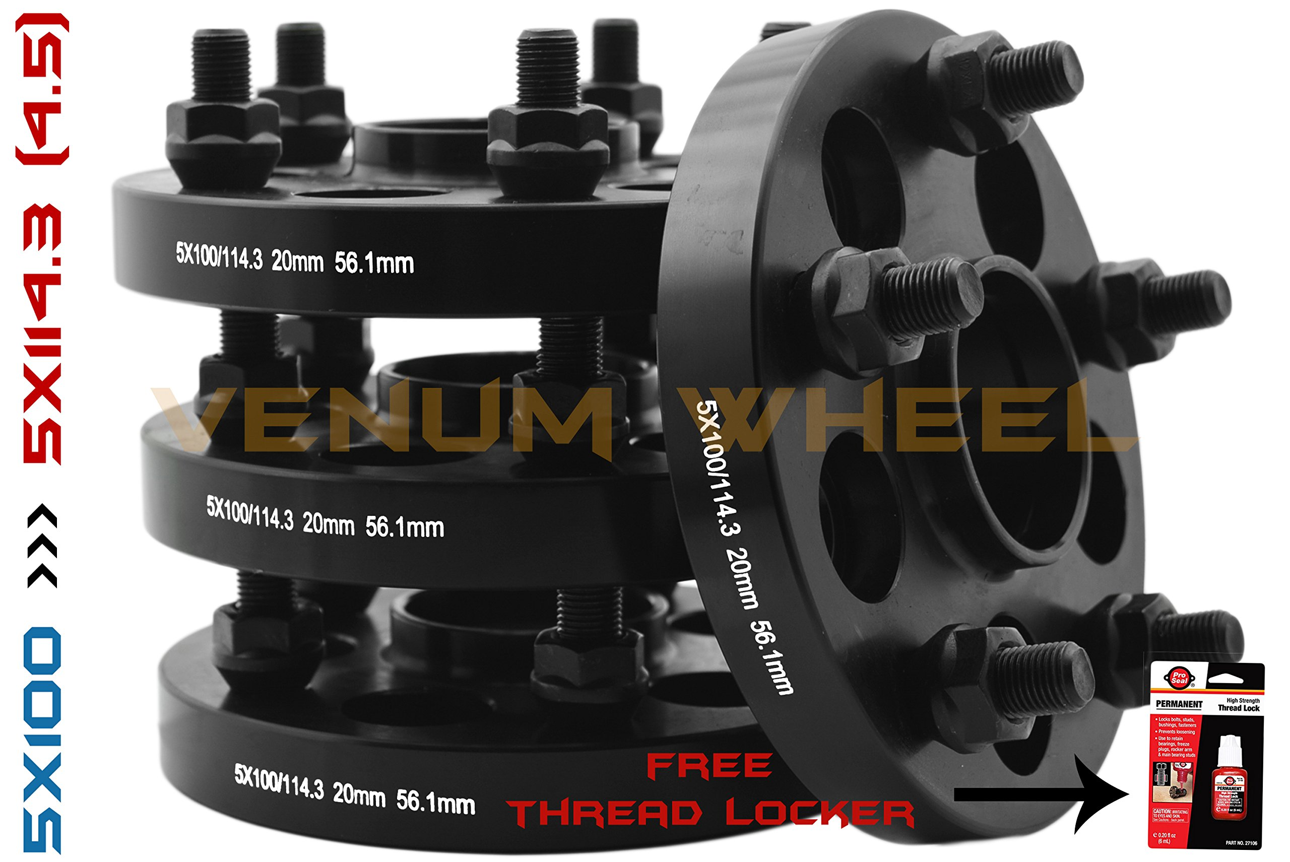 COMPLETE SET OF 5X100 TO 5X114.3 BLACK HUB CENTRIC WHEEL SPACERS ADAPTERS CONVERSION SCION FR-S SUBARU BRZ WRX 86   12X1.25 HUBCENTRIC 56.1 HUB BORE