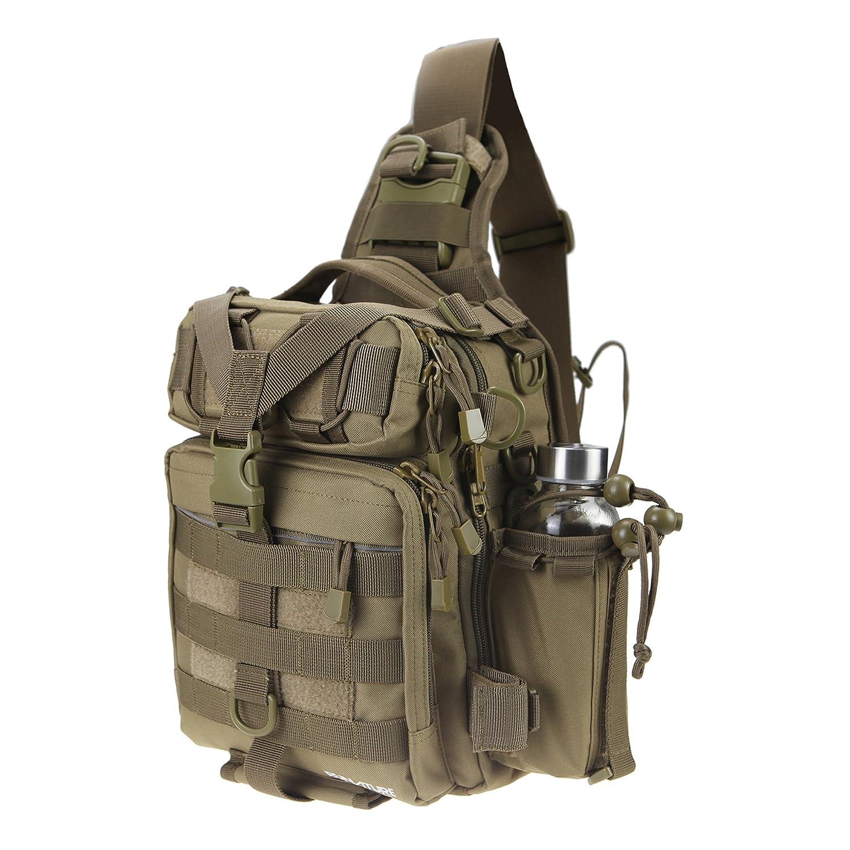RUNATURE Tactical Sling Bag 1000D Nylon Molle Rucksack Cross Schulterrucksack Kinder Junge Männer Herren Regenhülle Wasserdicht Umhängetasche Militär Taktisch Digital