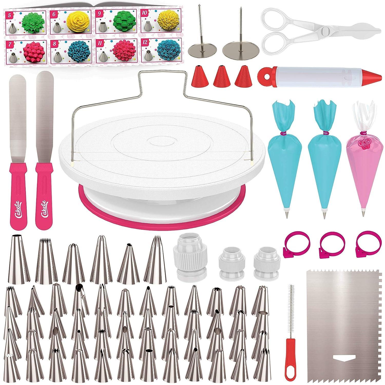 Cake Decorating Kit Cake Turntable - Cakebe 82pcs Cake Decorating Supplies Cake Baking Kit - Cake Baking Supplies For Teens Cake Decorating Set With Cake Decorating Turntable - Cake Decorating Tools