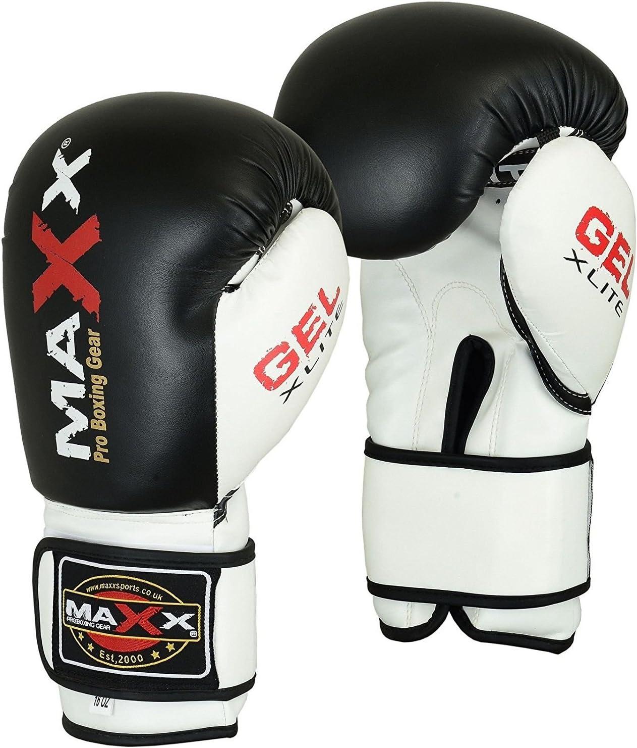 SportsMax レザーボクシンググローブ ブラック&ホワイト パンチバッグ 武道用 10オンス