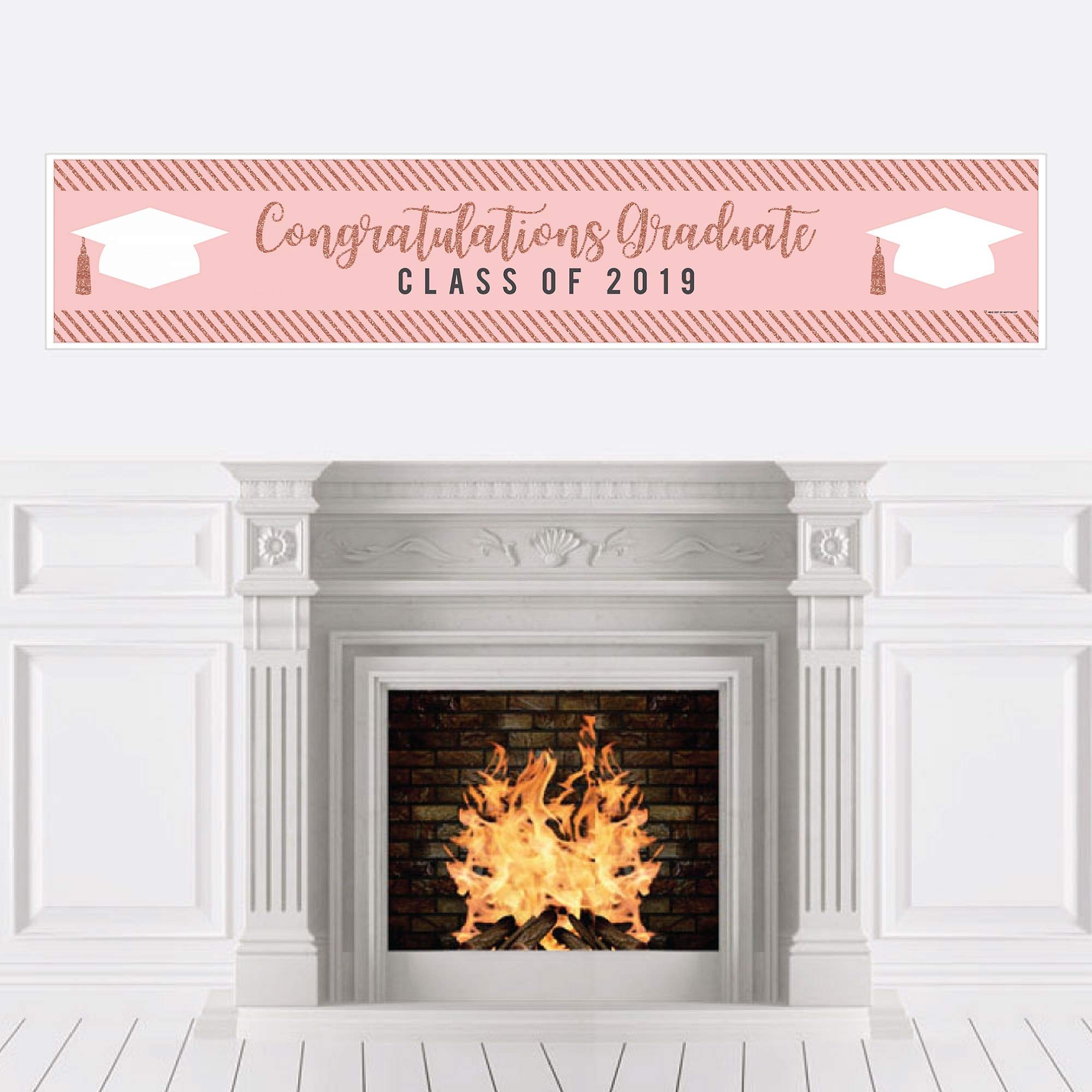Big Dot of Happiness Rose Gold Grad - 2019 Graduation Party Decorations Party Banner