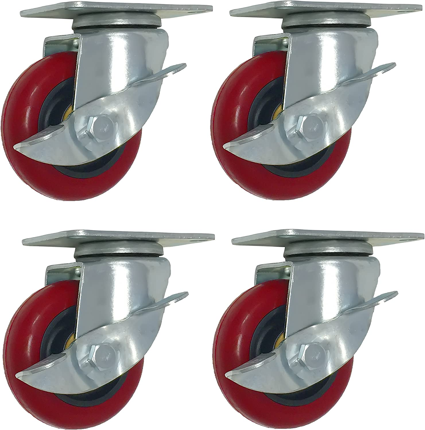 Online Best Service 4 Pack Caster Wheels Swivel Plate With Brake On Red Polyuret