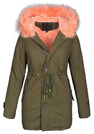 Golden Brands Selection Damen Winter Jacke warme Winterjacke Baumwolle Parka  Mantel Buntes Fell B444  Amazon.de  Bekleidung f2e9cebfba