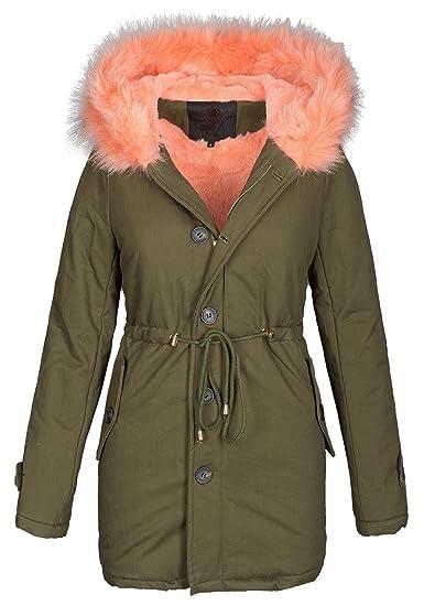 new concept c15c1 2bff1 Golden Brands Selection Damen Winter Jacke warme Winterjacke Baumwolle  Parka Mantel Buntes Fell B444