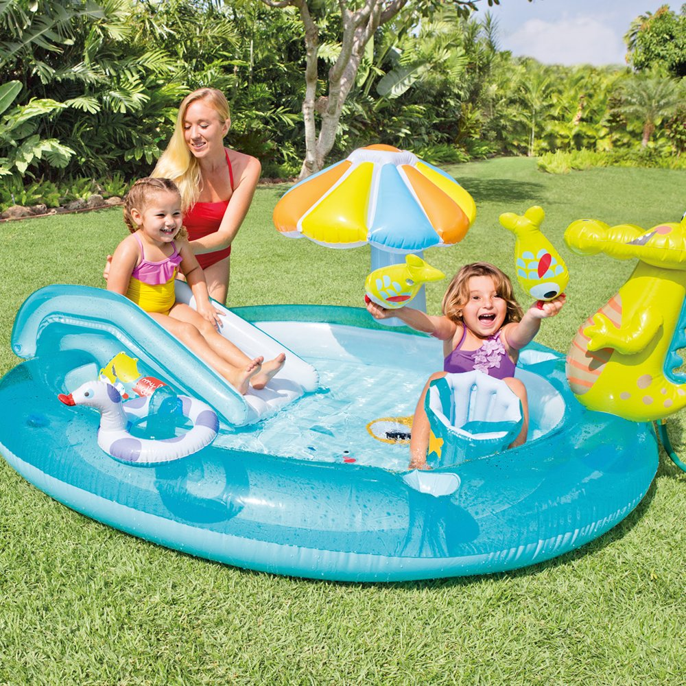 Intex inflatable family outdoor swimming paddling pool for Piscine pour les enfants