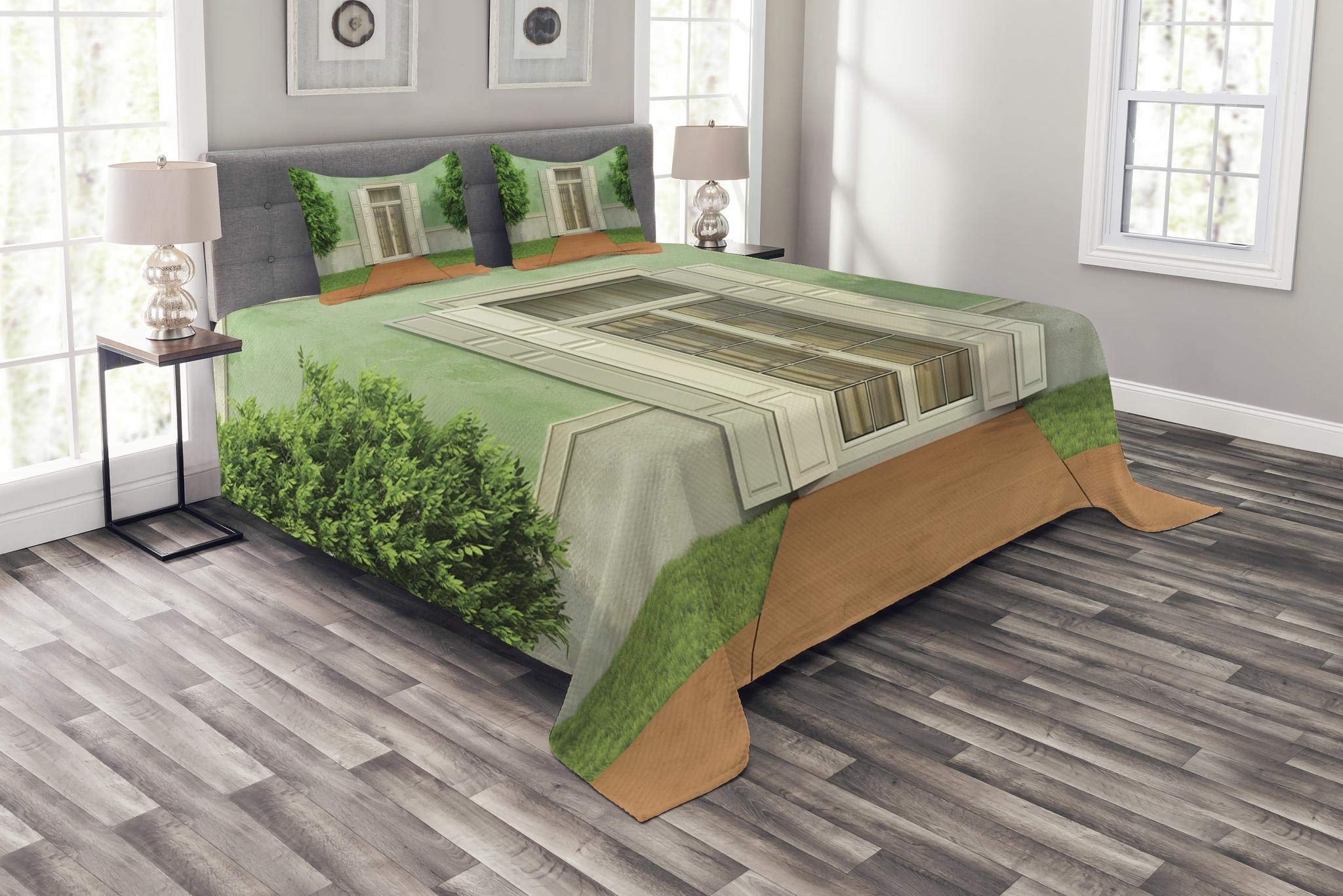 Lunarable Country Bedspread Set Queen Size, Classical Designed Garden of an Old House with Closed Window and Shutters Print, Decorative Quilted 3 Piece Coverlet Set with 2 Pillow Shams, Green Cream