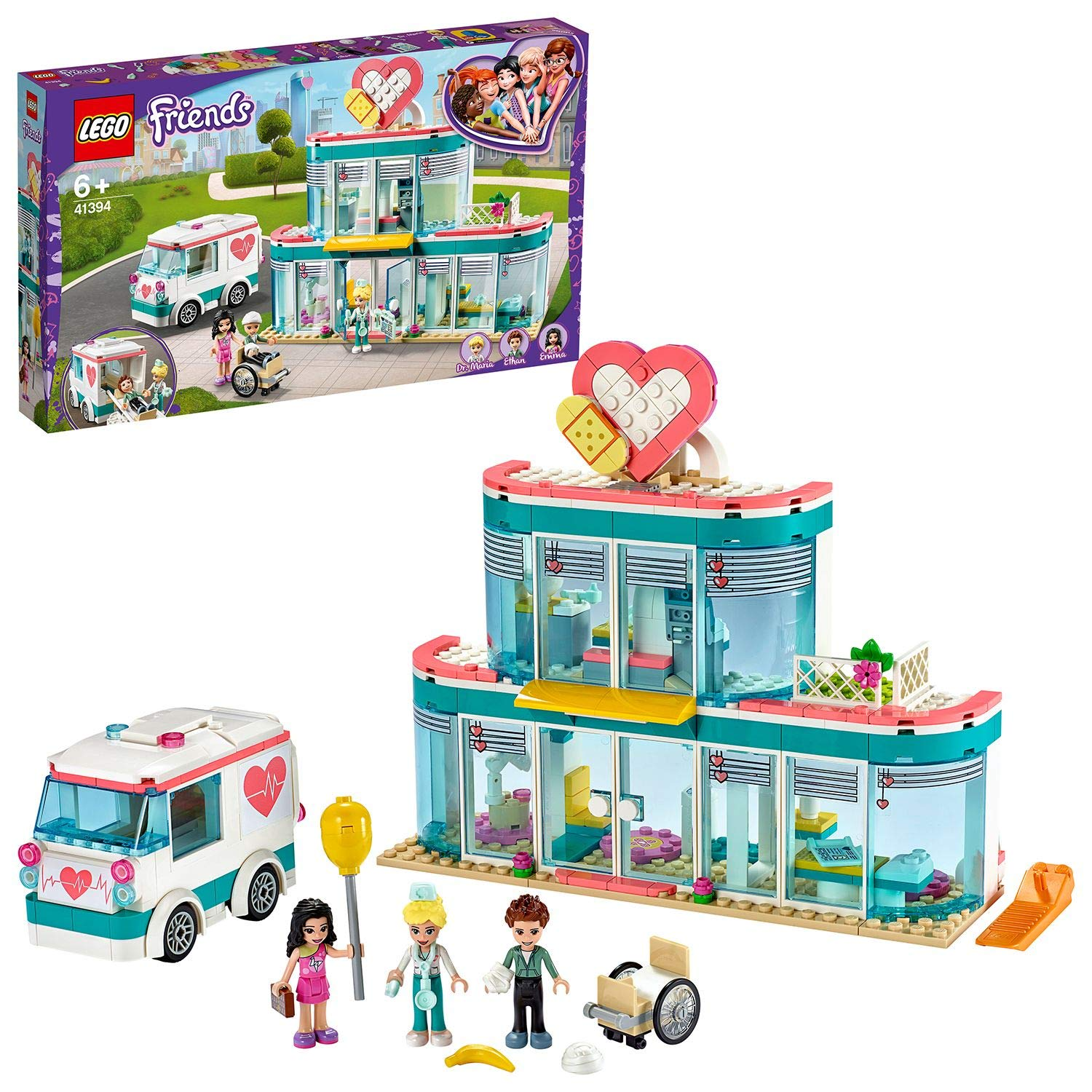 LEGO 41394 Friends Heartlake City Hospital Playset with Emma and 2 Other Mini Dolls, for Girls and Boys 6+