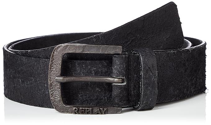 Replay Ceinture pour homme, cuir véritable avec boucle en métal, logo -  Noir  3d64ad7df2a