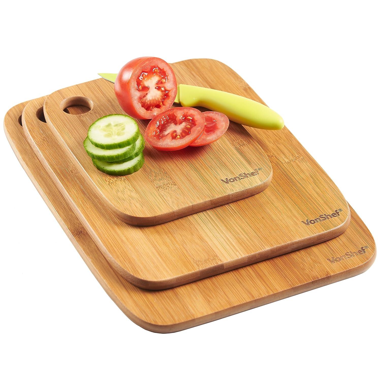 VonShef Chopping Board 100% Bamboo 3 Piece Wooden Set: Amazon.co.uk:  Kitchen U0026 Home