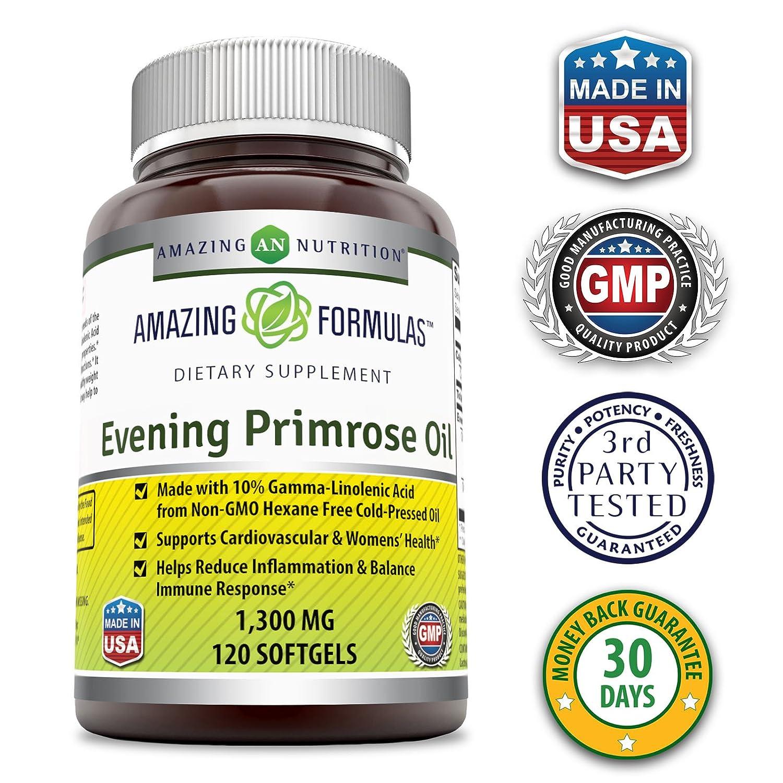 d938e22403b Amazon.com  Amazing Formulas Evening Primrose Oil 1300 Mg 120 Softgels  (Non-GMO) - High Potency- Made with 10% Gamma Linoleic from Non-GMO Hexane  Free Cold ...