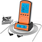 KUNSTWORKER Wireless Remote Digital Cooking Meat Thermometer Dual Probe for Grilling Oven Kitchen Smoker BBQ Grill Thermometer with Probe, 300 Feet Range (yellow)