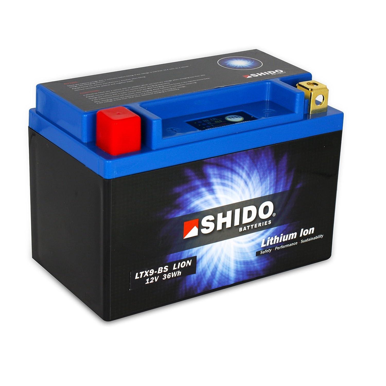 Ma/ße: 150x87x105 f/ür Kawasaki Z1000 //ABS Baujahr 2010 12V//8AH Batterie Shido Lithium LTX9-BS // YTX9-BS