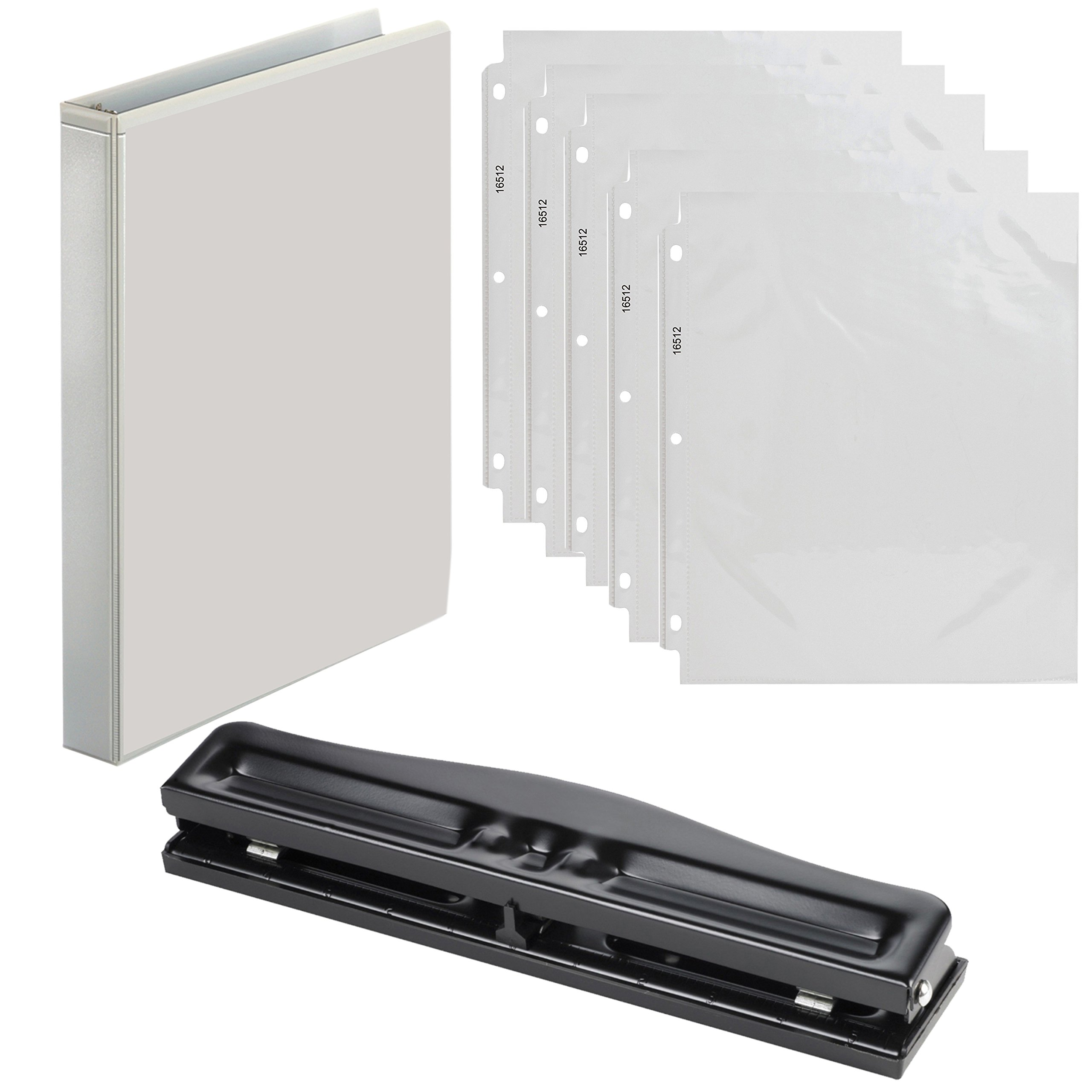 3 Ring Binder 1 inch, with 50 Plastic Sheet Protectors, with Adjustable Hole Puncher for Binders - Value Set (White Ring Binder)