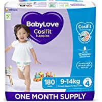 BabyLove Cosifit Nappies, Size 4 (9-14kg) One Month Supply (3 packs of 60, 180 nappies total)