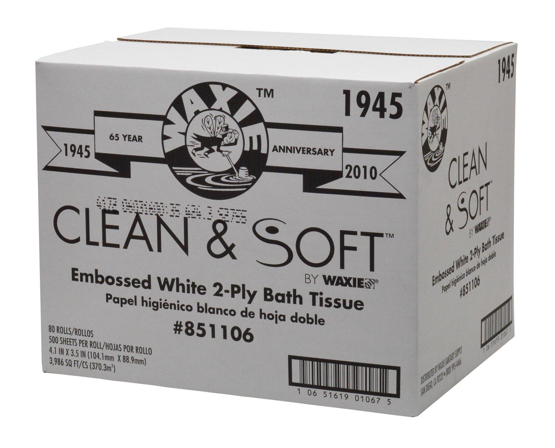 WAXIE 1945 Clean & Soft Bath Tissue Roll, White, 2-Ply, 500 Sheets Per Roll, 4-3/32'' X 3-1/2'' (Case of 80)