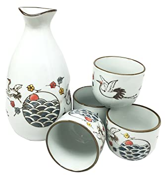 Beautiful Stork Bird Flight Glazed Ceramic White Sake Set Flask With Four  Cups Great Asian Living
