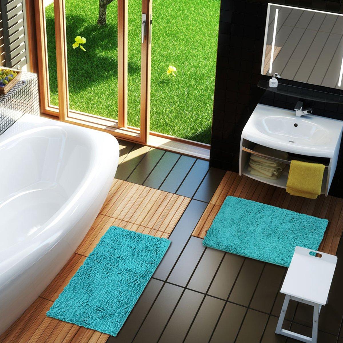 Mayshine Bath mats for Bathroom Rugs Non Slip Machine Washable Soft Microfiber 2 Pack (20×32 inches, Turquoise) by MAYSHINE (Image #4)