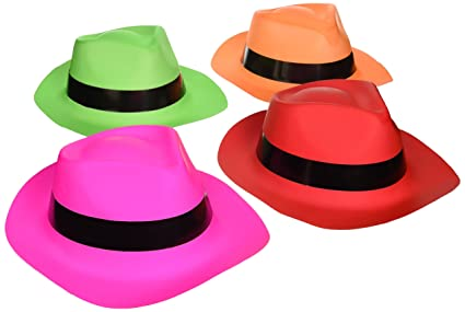 8ec80cb7377c2 Amazon.com  Neon Fedora Party Hats 12 pc  Toys   Games