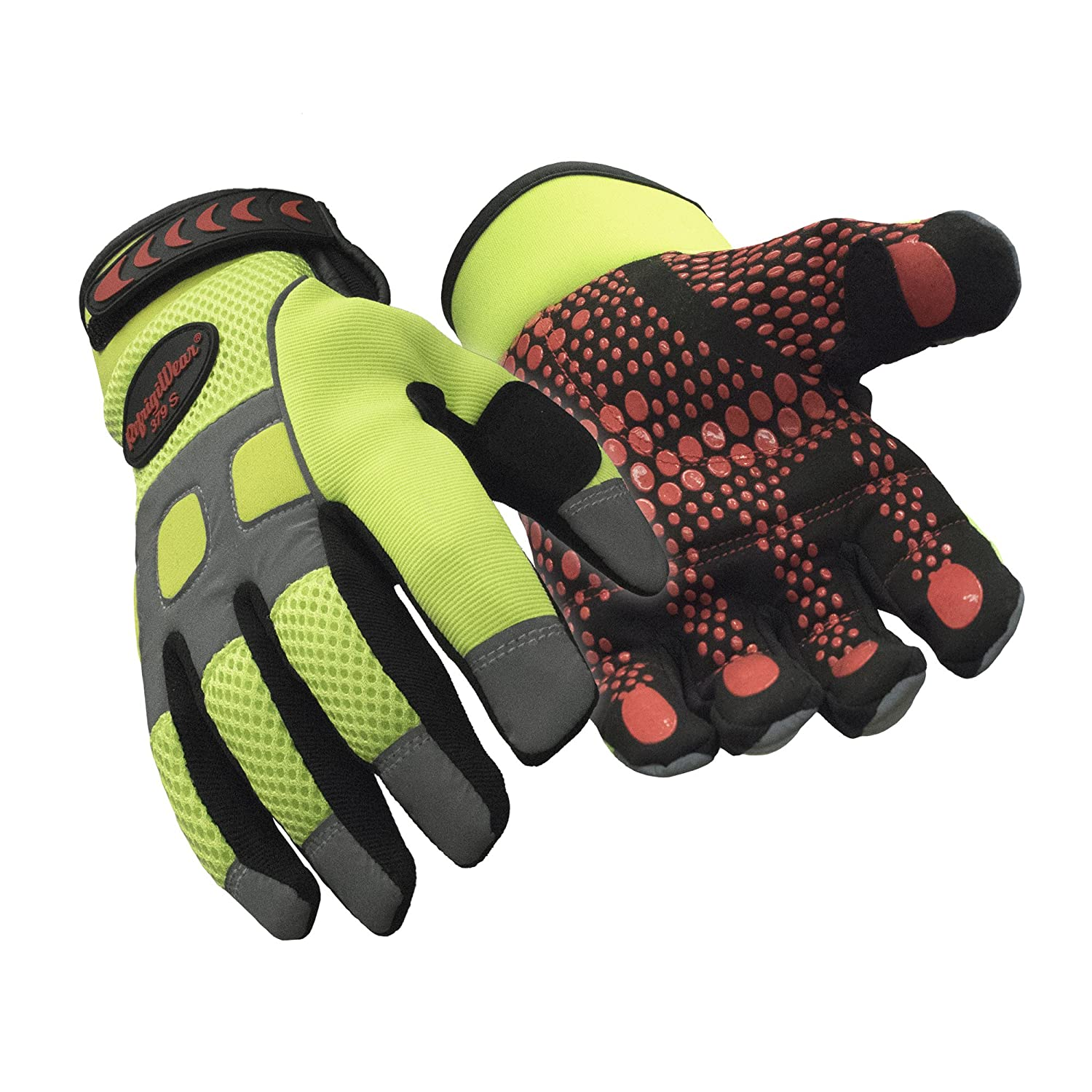 RefrigiWear Mens Insulated Fleece Lined HiVis Super Grip Performance Gloves Reflective with Silicone Grip Dots