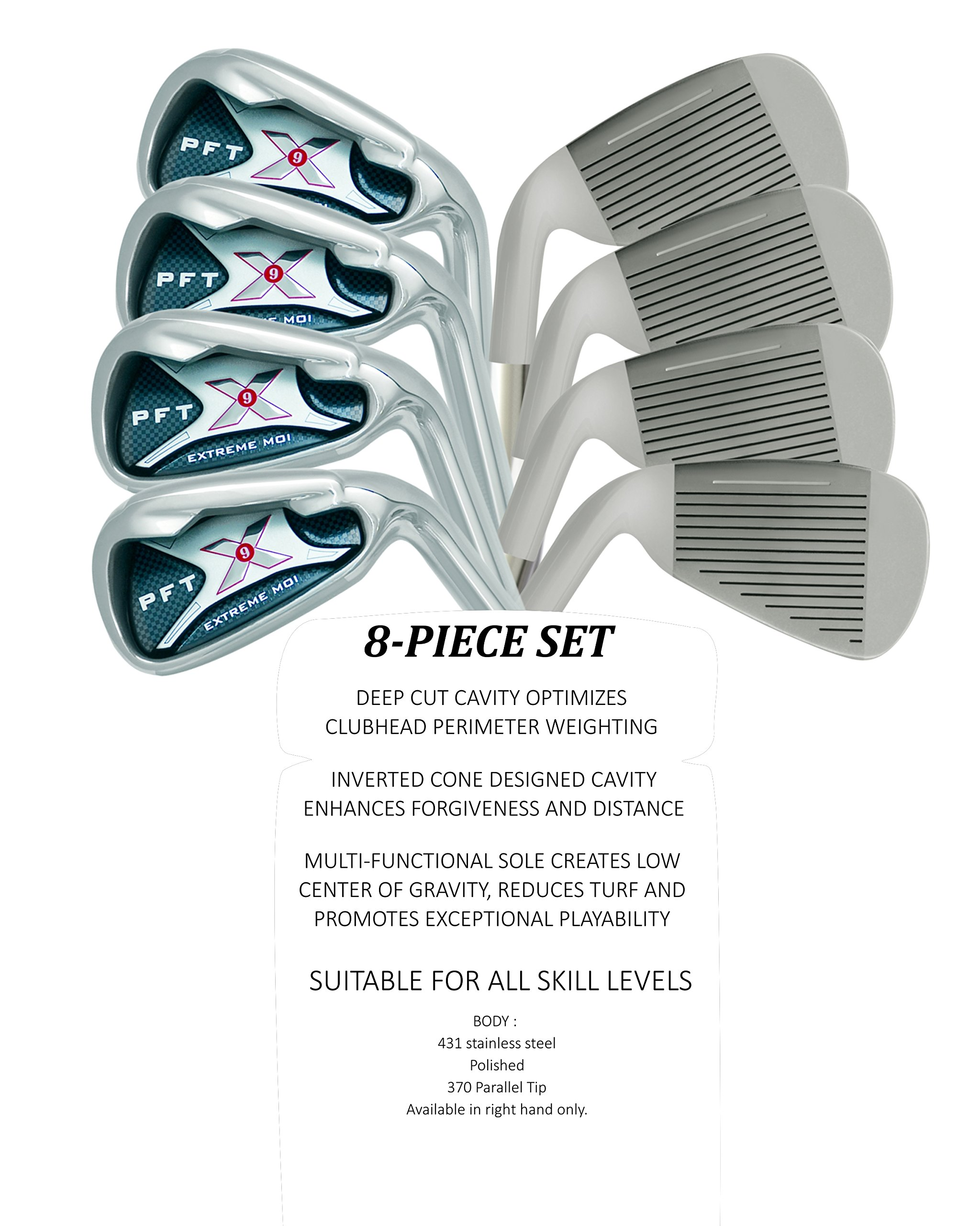 PFT X9 High Moi Extreme 9 Iron Set Golf Clubs Custom Made Right Hand Stiff S Flex Steel Shafts Complete Mens Irons Ultra Forgiving OS Oversized Wide Sole Ibrid Club by PFT X9 (Image #4)