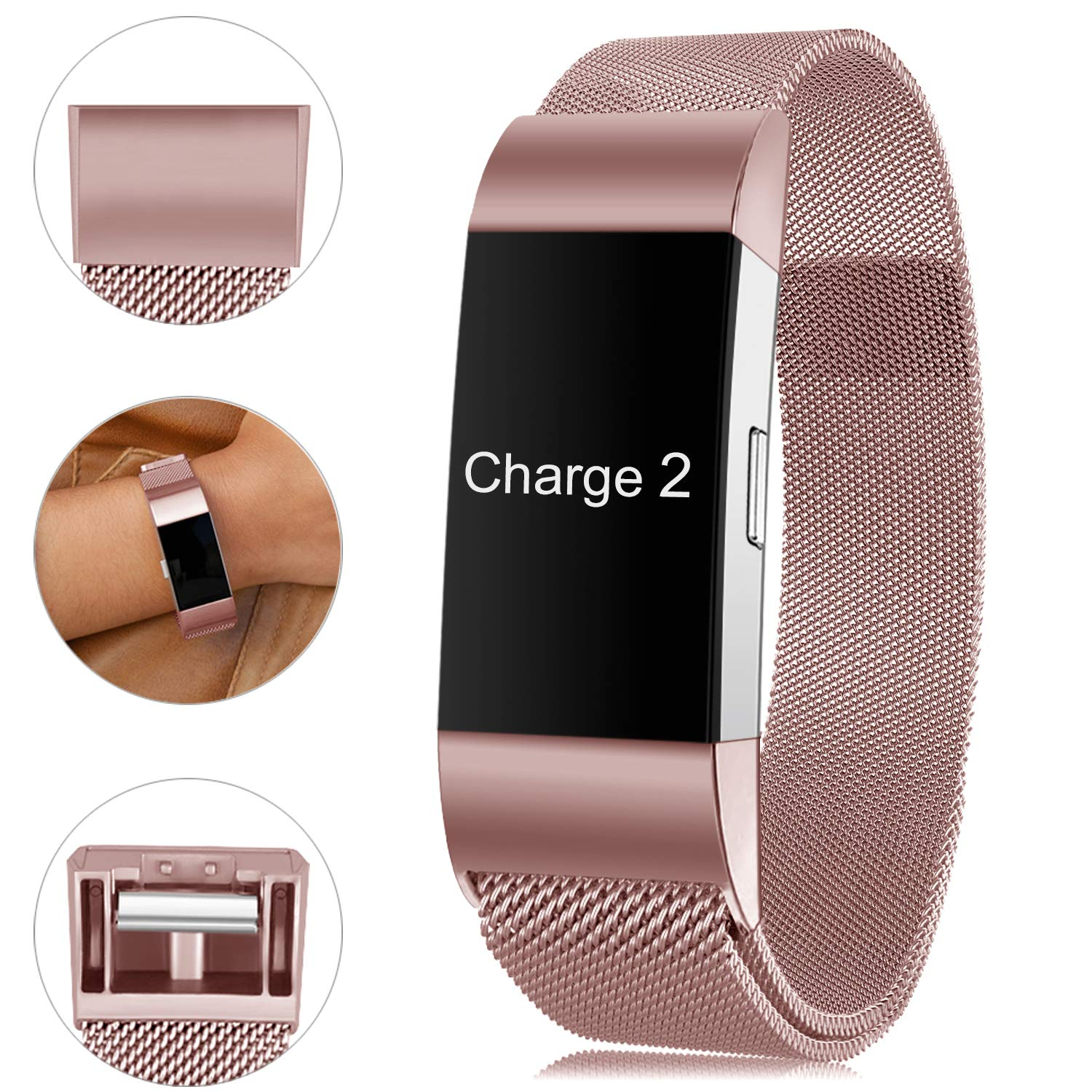 Find-MyWay Compatible with Fitbit Charge 2 Band,Charge 2 Accessories Stainless Steel Bracelet Women Men Wristbands Strap Rose Gold Silver Compatible for Charge 2 Fitness Tracker by Find-MyWay