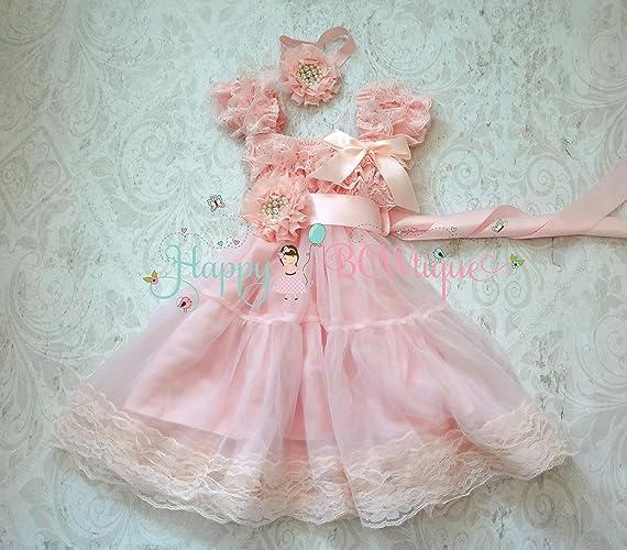 eeaf669c279d Amazon.com  Baby Pink Chiffon Lace Dress set w Extra Headband ...