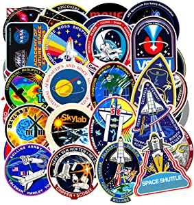 Vinyl Space Stickers Universe NASA Stickers Pack 45 Pcs Space Explorer Stickers Astronaut Decals for Laptop Ipad Car Luggage Water Bottle Helmet