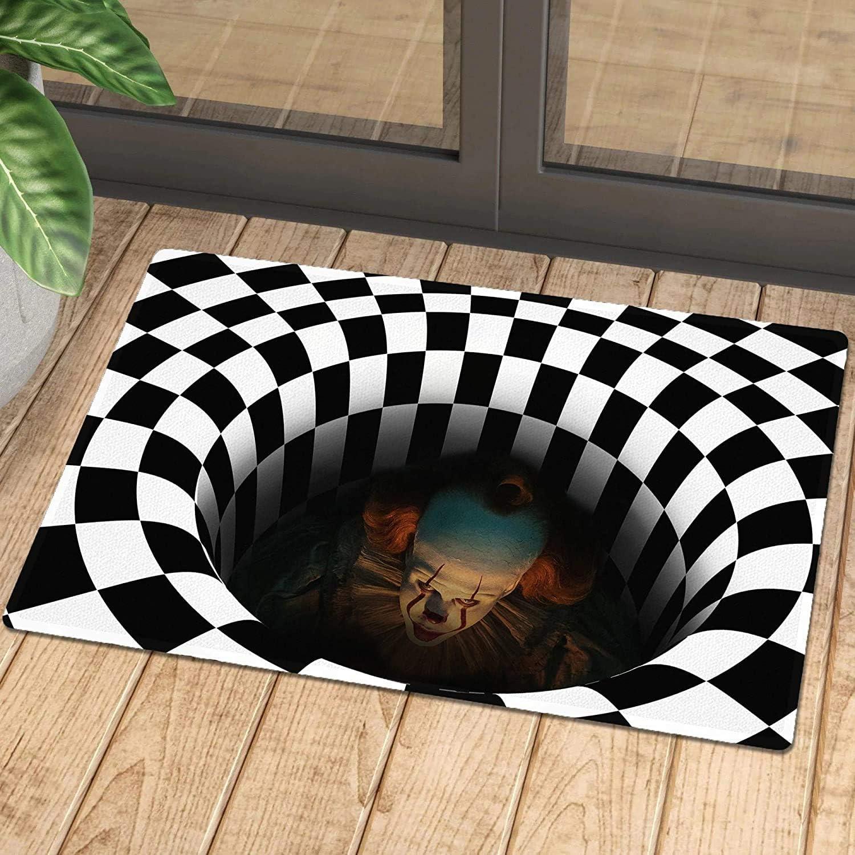 Jialili Horror Halloween Doormat, Novel 3D Swirl Plaid Area Rug, Non-Slip Carpet Living Room Bedroom Office Floor Mat for Indoor Outdoor Halloween Decoration (40x60cm)