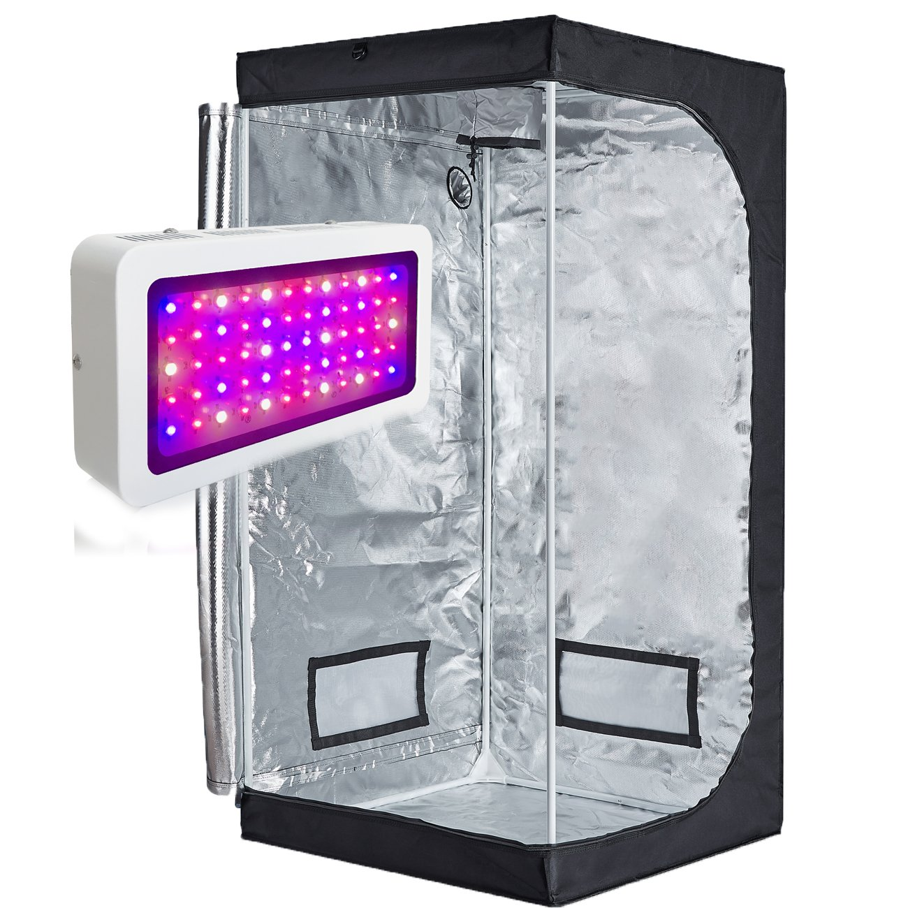 TopoLite 300W/ 600W/ 800W/ 1200W Full Spectrum LED Grow Light + Multiple Size Grow Tent Dark Room Indoor Hydroponic System Kit (LED 300W, 32''x32''x63'' D-Door)