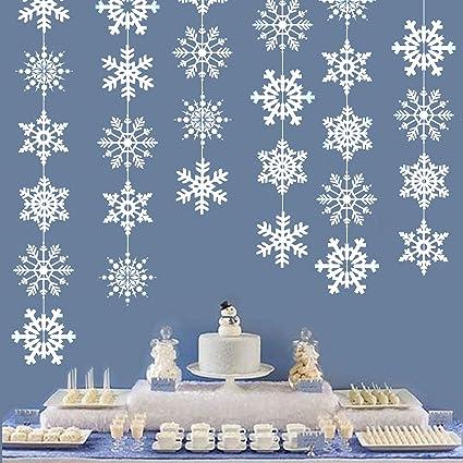 Snowflake Winter Wonderland Banner Winter Wonderland Snow Frozen Christmas Themed Birthday Party Decorations Supplies Gold Glittery Winter Wonderland Snowflake Decorations