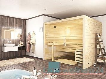 Sauna mit Glasfront Massivholz 45 mm EOS Saunaofen D2 ...