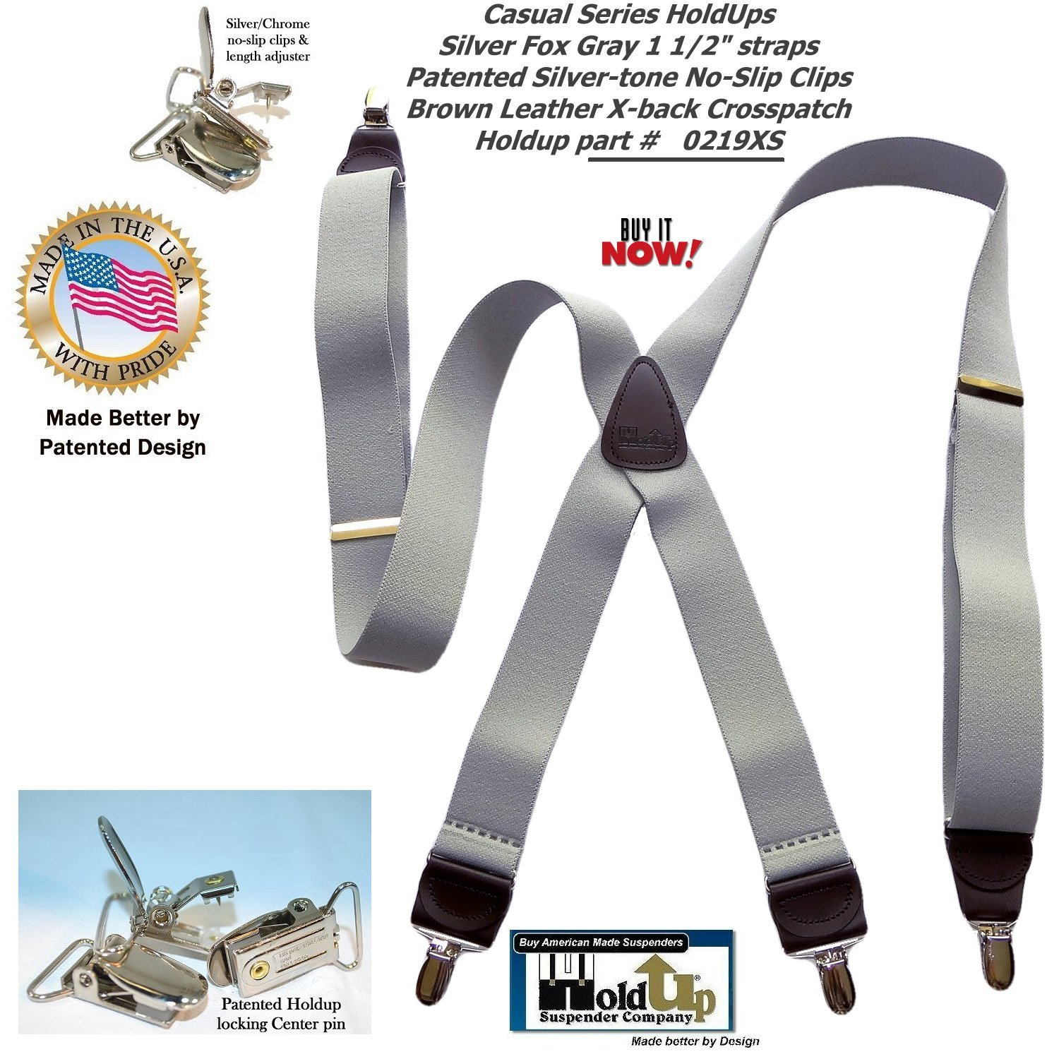 HoldUp Brand Silver Fox Gray X-back Suspenders are 1 1/2'' Wide with patented No-slip Silver-tone Clips by Hold-Up Suspender Co. (Image #7)