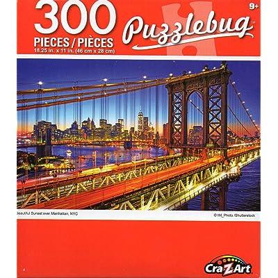 Cra-Z-Art Puzzlebug Beautiful Sunset Over Manhattan, NYC - 300 Piece Jigsaw Puzzle: Toys & Games