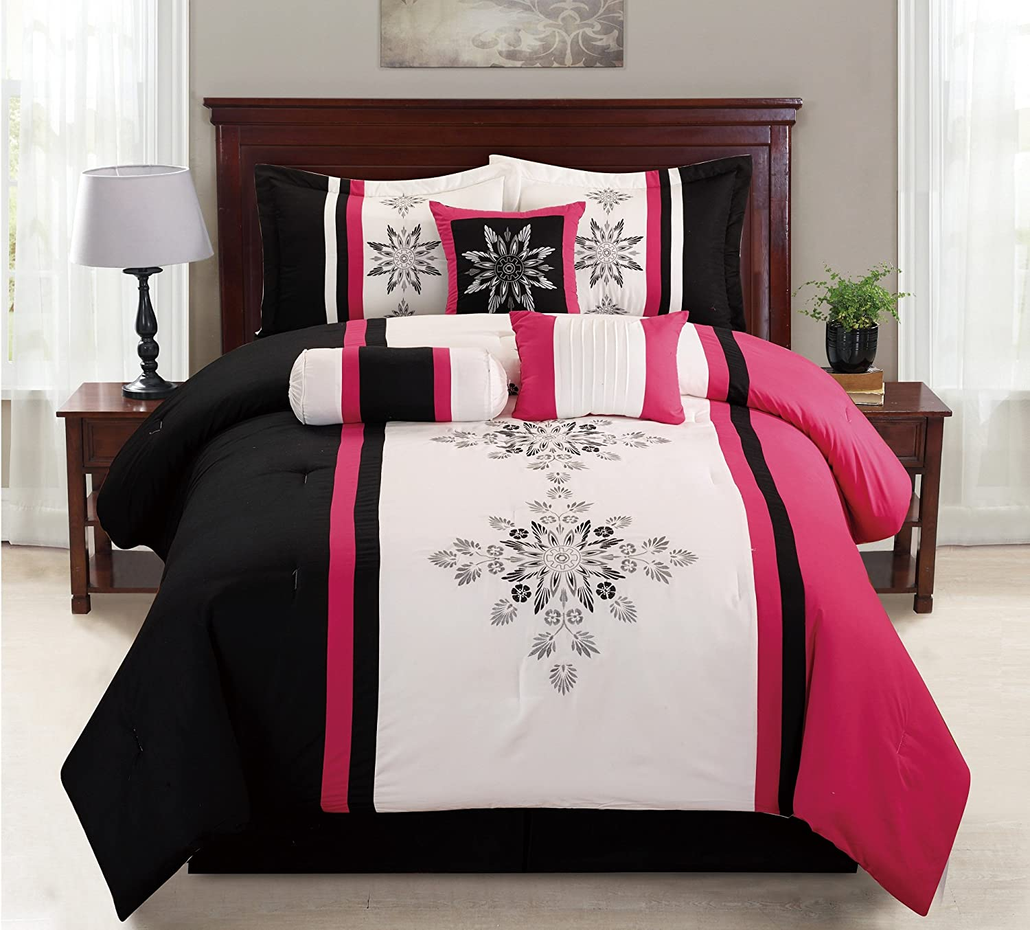7 Piece Cotton Touch Pink & Black Embroidery Comforter Set
