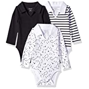Hanes Ultimate Baby Flexy 3 Pack Long Sleeve Polo Bodysuits, Black Stripe, 0-6 Months