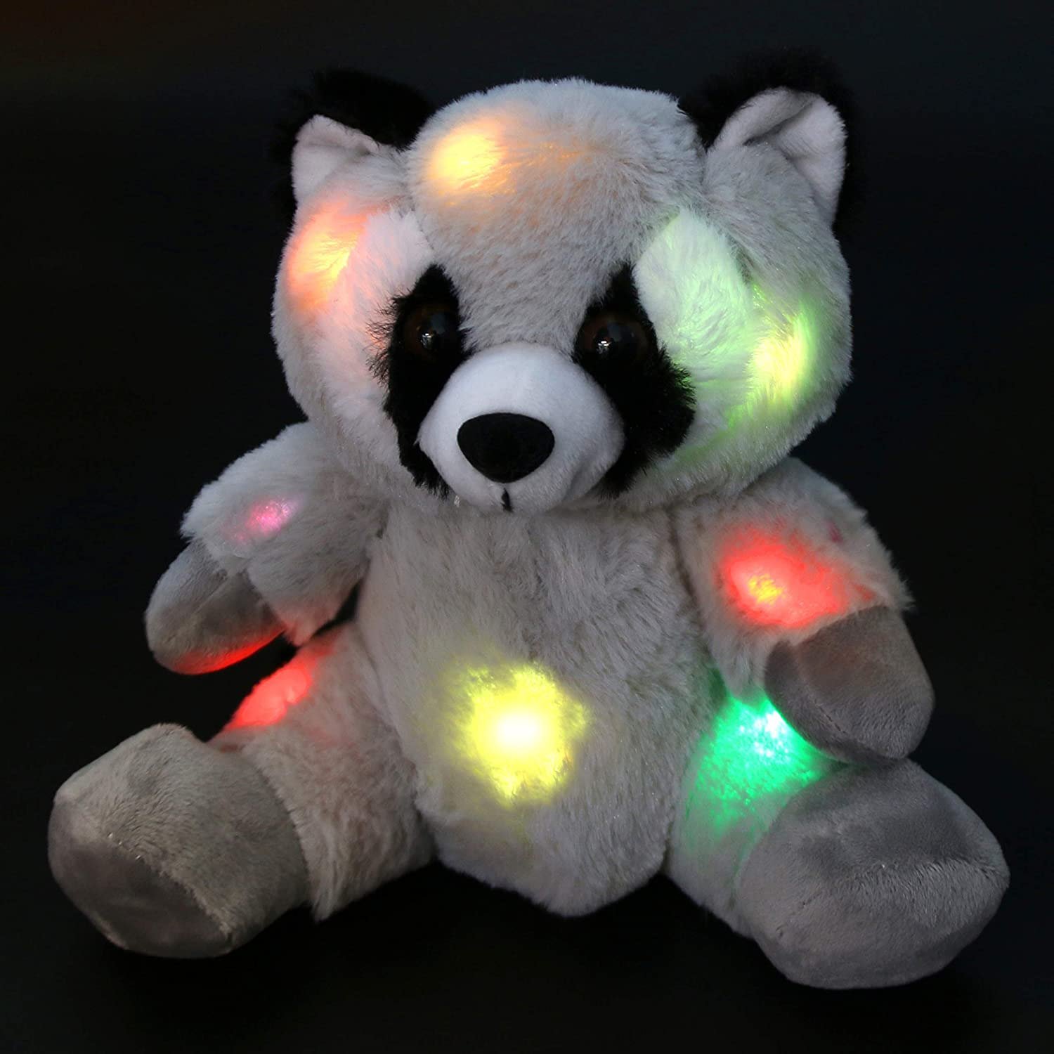 Bstaofy LED Raccoon Stuffed Animal Glow Soft Plush Toy Light up Colorful Companion for Kids, 10'' (Style 1)