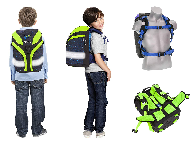 5 Teile Schulrucksackset Herlitz Motion Plus Schulranzen Rucksack Jungen M/ädchen Regenh/ülle Blue Cubes 393