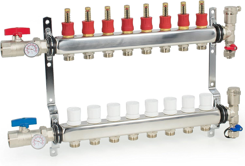 VIVO 8 Loop 1/2 inch Pex Manifold Stainless Steel Radiant Floor Heating Set   8 Branch Kit (PEX-M12-8)